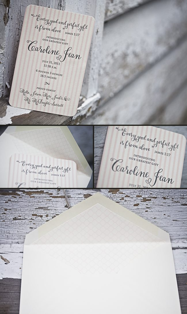 sweet, girly letterpress baby announcements