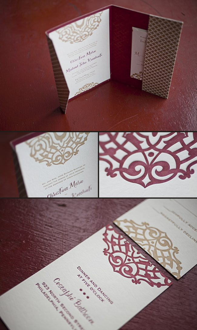 holiday theme letterpress wedding invitation