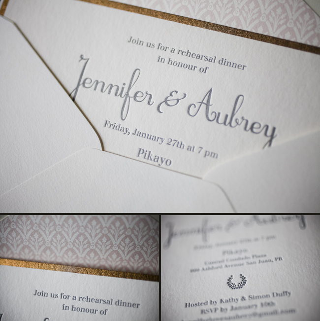 modern letterpress rehearsal dinner invitations