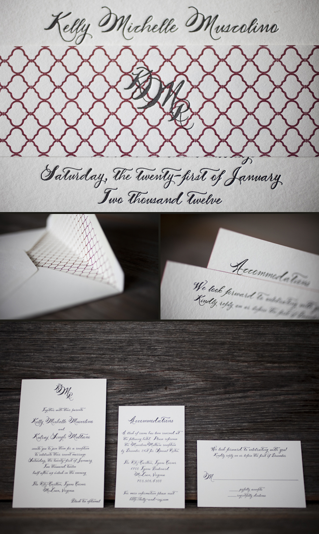 vintage romantic letterpress wedding invitations