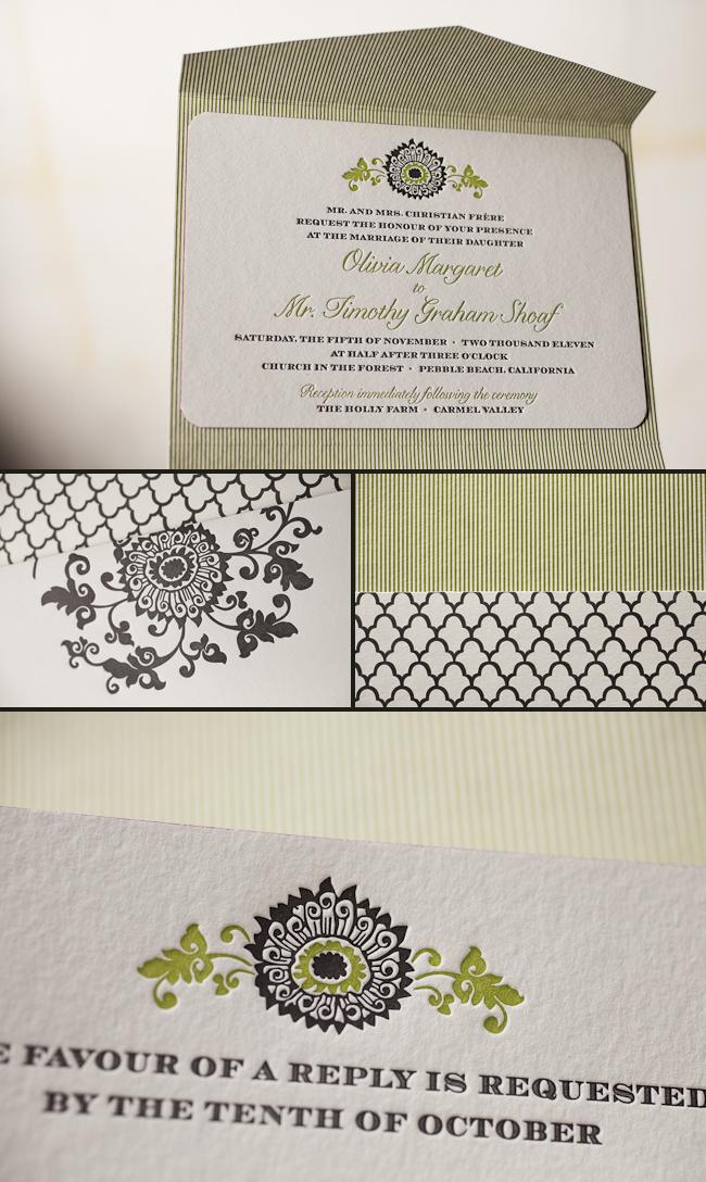 vintage letterpress wedding invitation