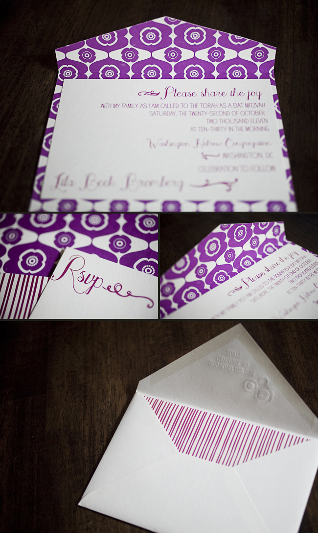 colorful letterpress bat mitzvah invitation