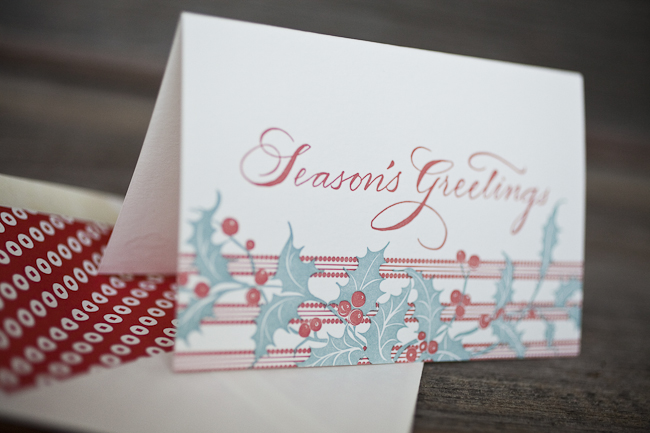 Traditional Christmas letterpress greeting cards from Smock feature holly berries and season's greetings