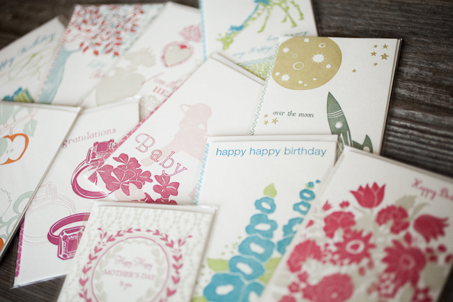 A variety of the letterpress greeting cards that are marked down from Smock - perfect for birthdays, baby showers, Valentine's day & more.