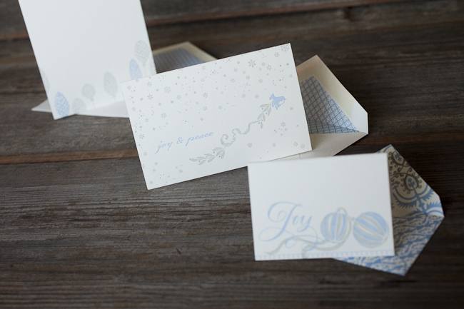 Blue & silver inks and elegant holiday ornaments and motifs make these letterpress holiday cards extra pretty.