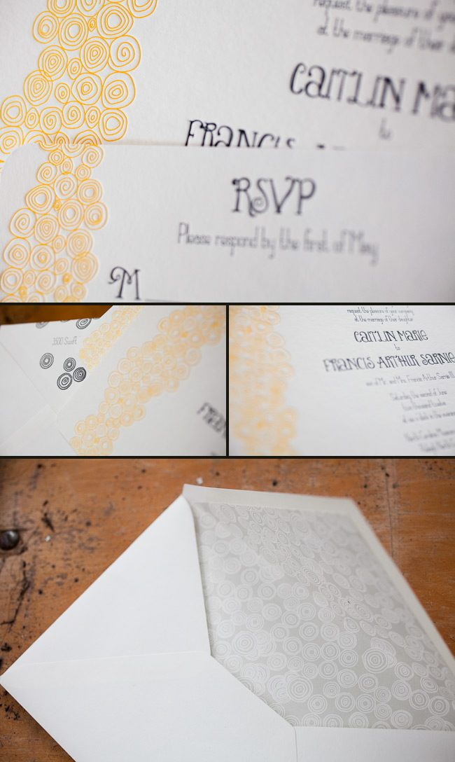 whimsical and colorful letterpress wedding invitation