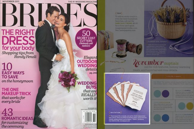 Brides magazine featured Smock's Palmer wedding invitations (fall 2011)