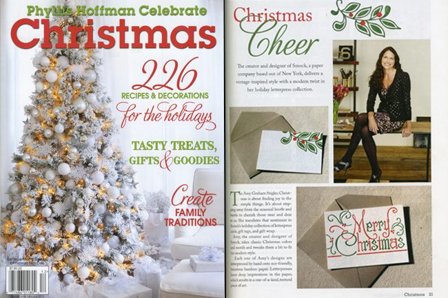 Celebrate Christmas magazine featured the Smock everyday line for the holidays, along with an interview with Smock's creative director Amy Graham Stigler