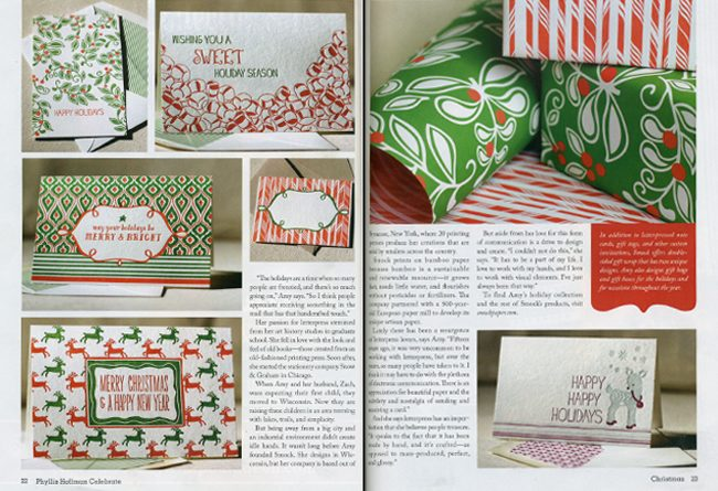Celebrate magazine featured a spread of Smock holiday products for 2011