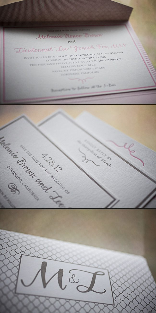soft & sweet letterpress wedding invitations
