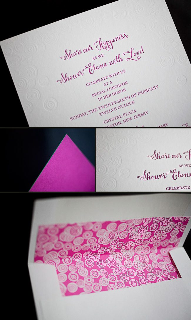 colorful letterpress bridal shower invitations