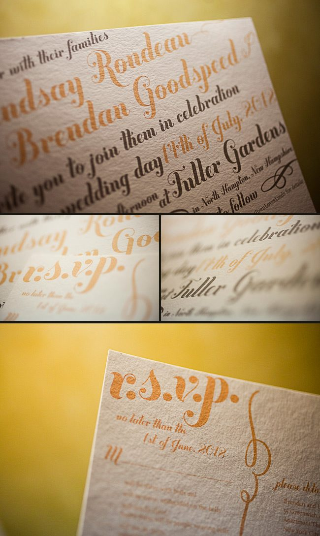 custom typography wedding invitations