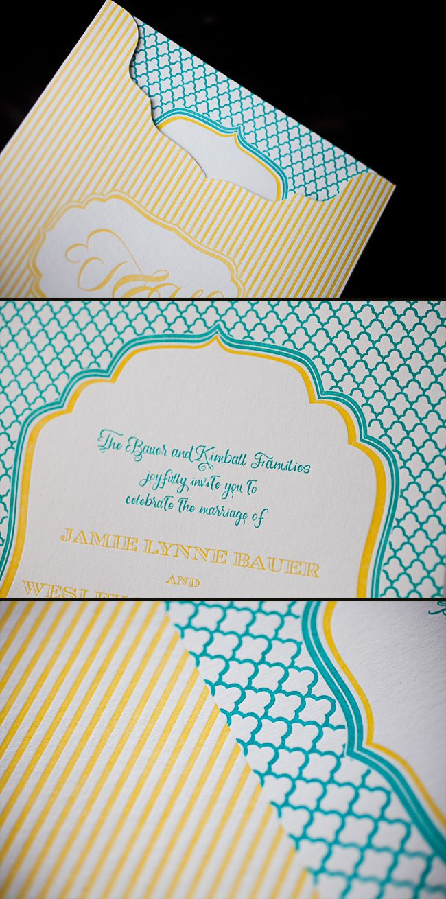 colorful and fun letterpress wedding invitation