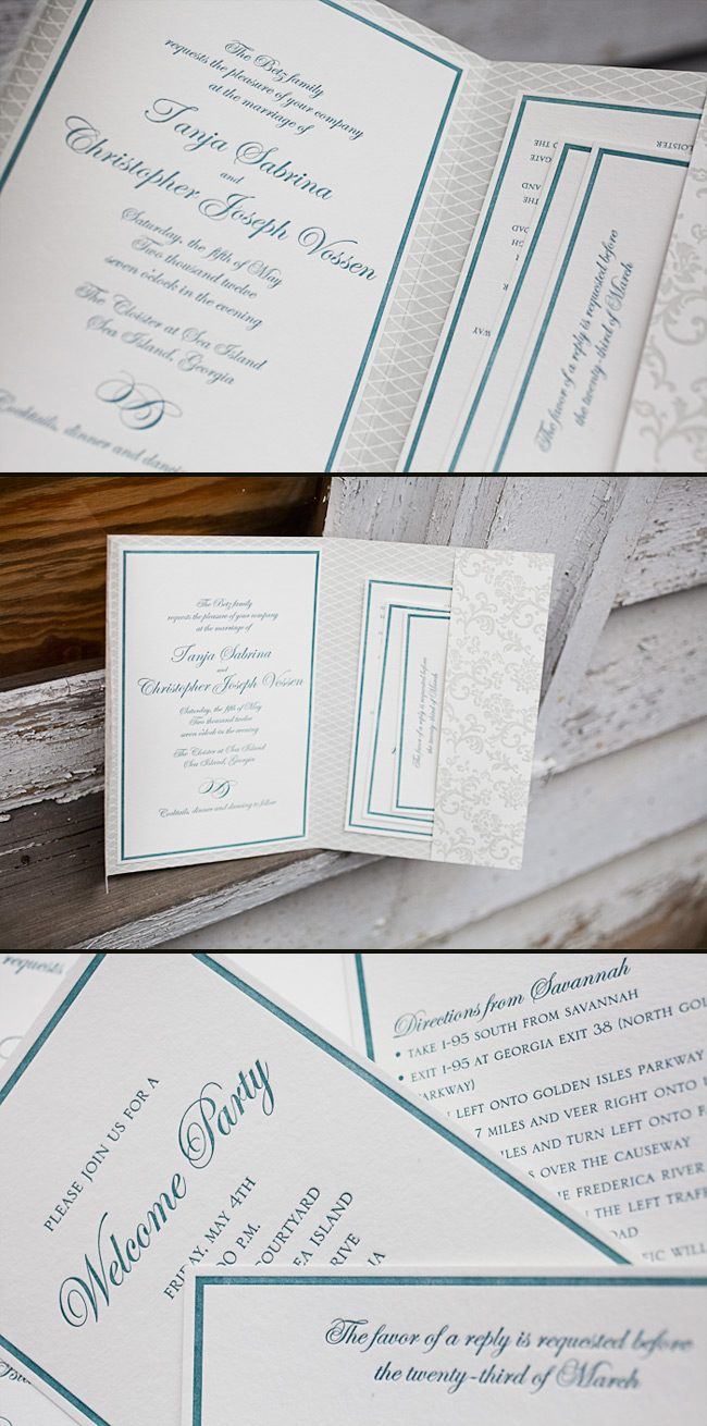 elegant letterpress wedding invitations