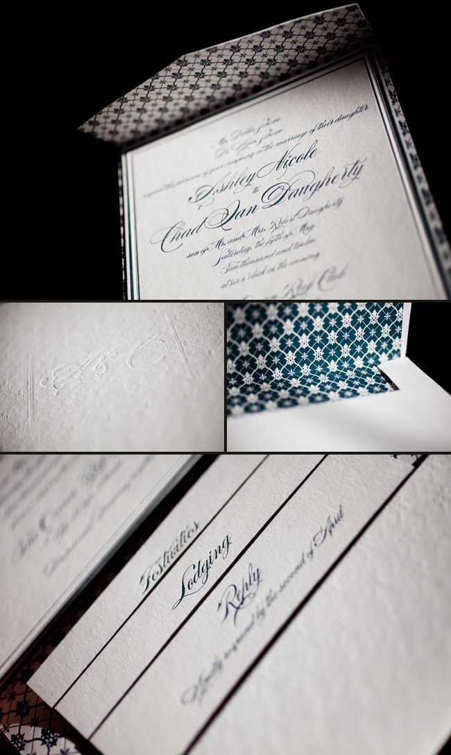 formal letterpress wedding invitation designs
