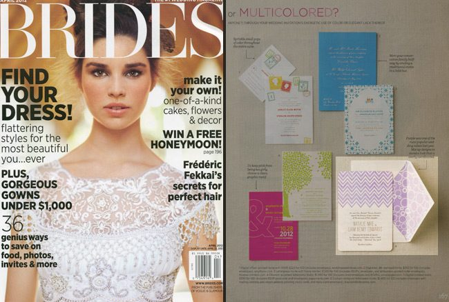 Brides magazine featured a customization of Smock's letterpress wedding invitation Hekla