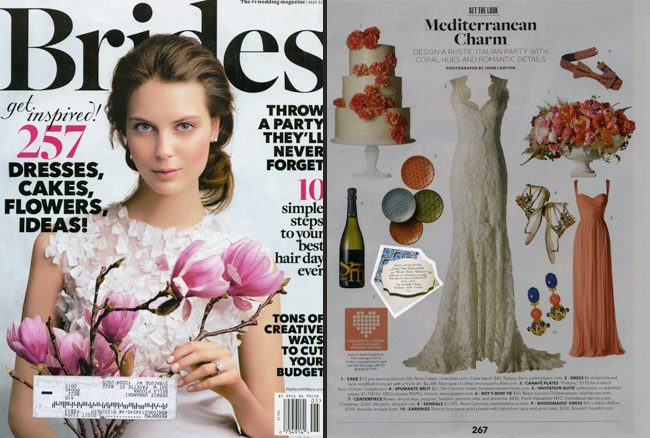 Brides magazine featured a customization of Smock's die-cut, letterpress wedding invitation, Tallmossen, in their May issue