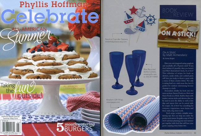 Celebrate magazine featured Smock's Breakers giftwrap in their nautical party picks round-up for summer 2012