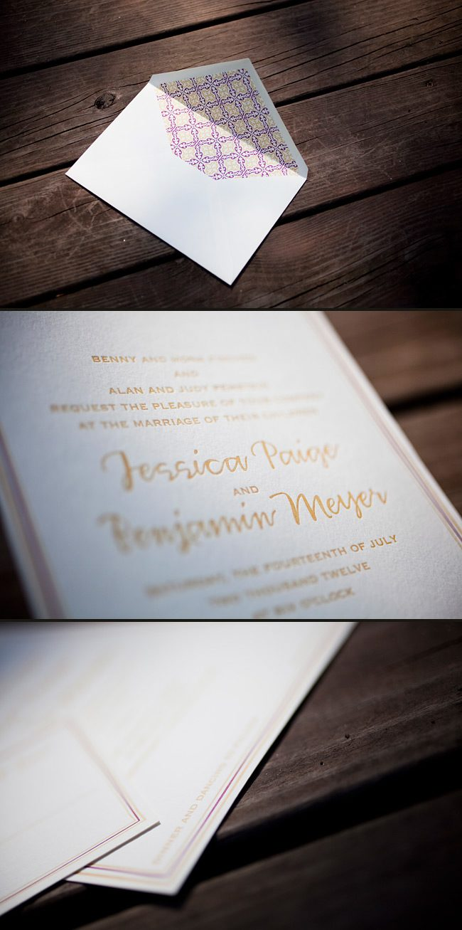 modern patterned letterpress invitations