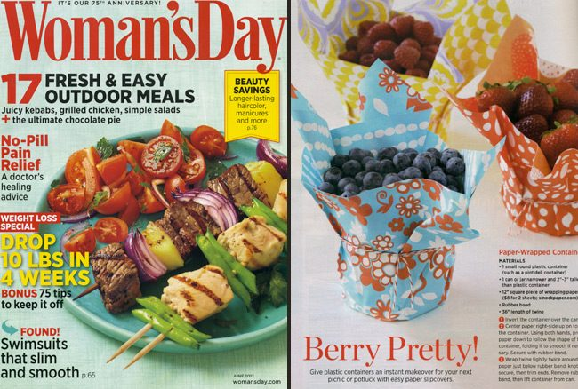 Woman's Day Magazine featured Smock in their June issue with an adorable DIY for paper wrapped dishes -- Berry Pretty!
