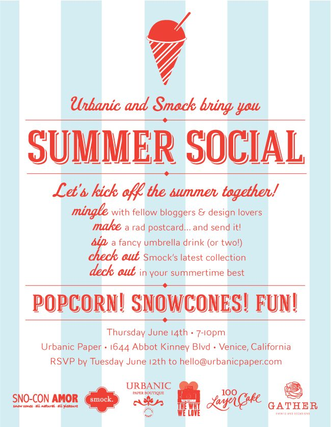 Smock + Urbanic are teaming up to bring you another summer social!