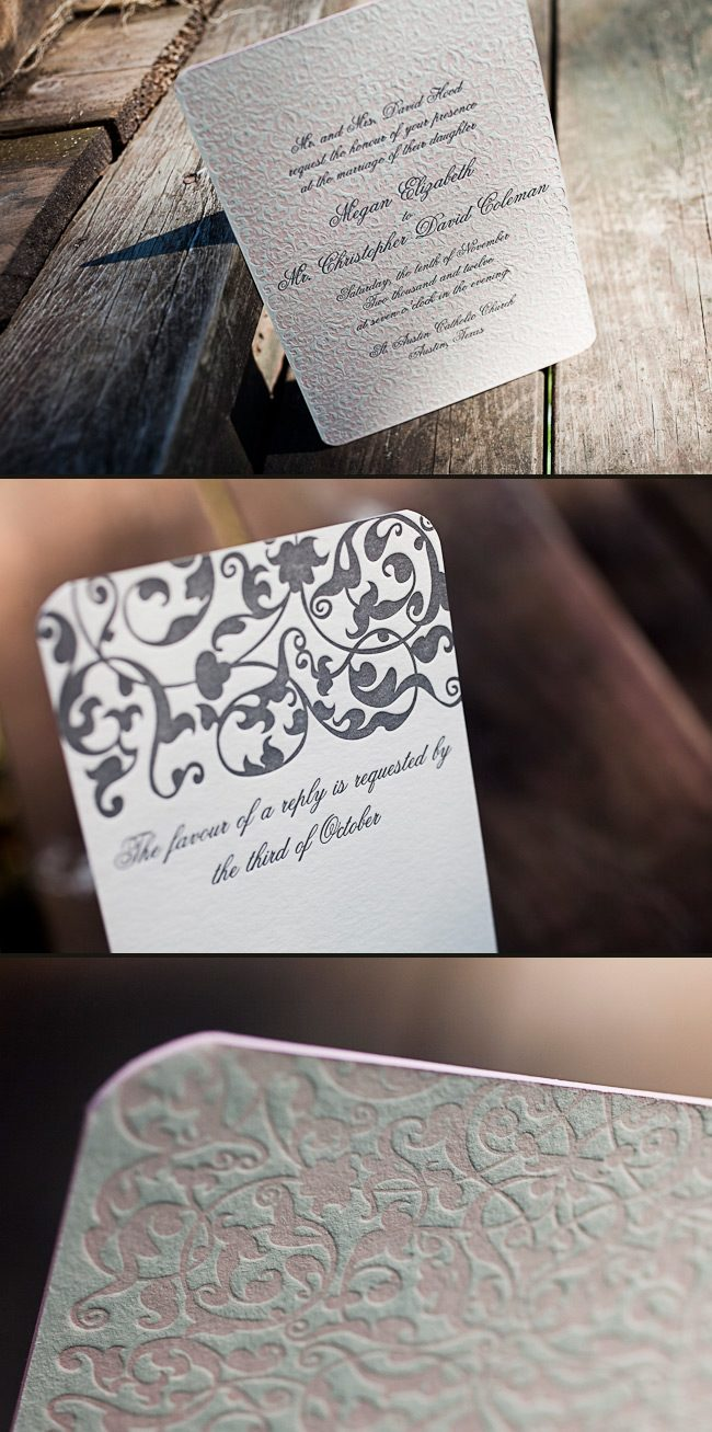 This is a romantic customization of Smock's Altar letterpress wedding invitation printed in pearl and pewter inks.