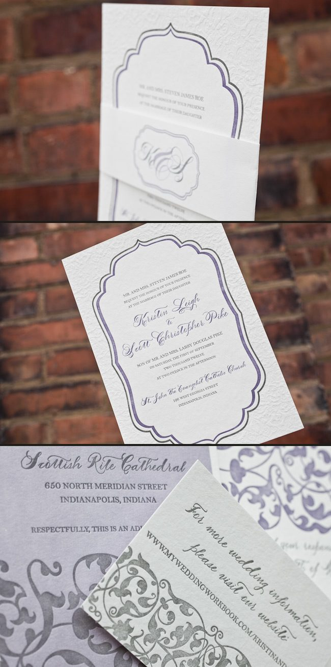 This is a 3 color customization of the Dawnson letterpress invitation printed by Smock