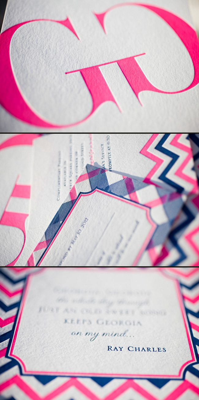 custom neon letterpress wedding invitations