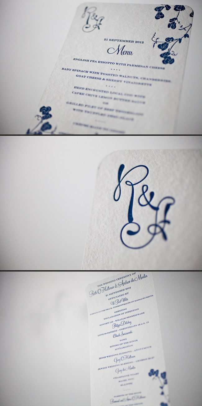 Custom library letterpress day of pieces in navy ink.