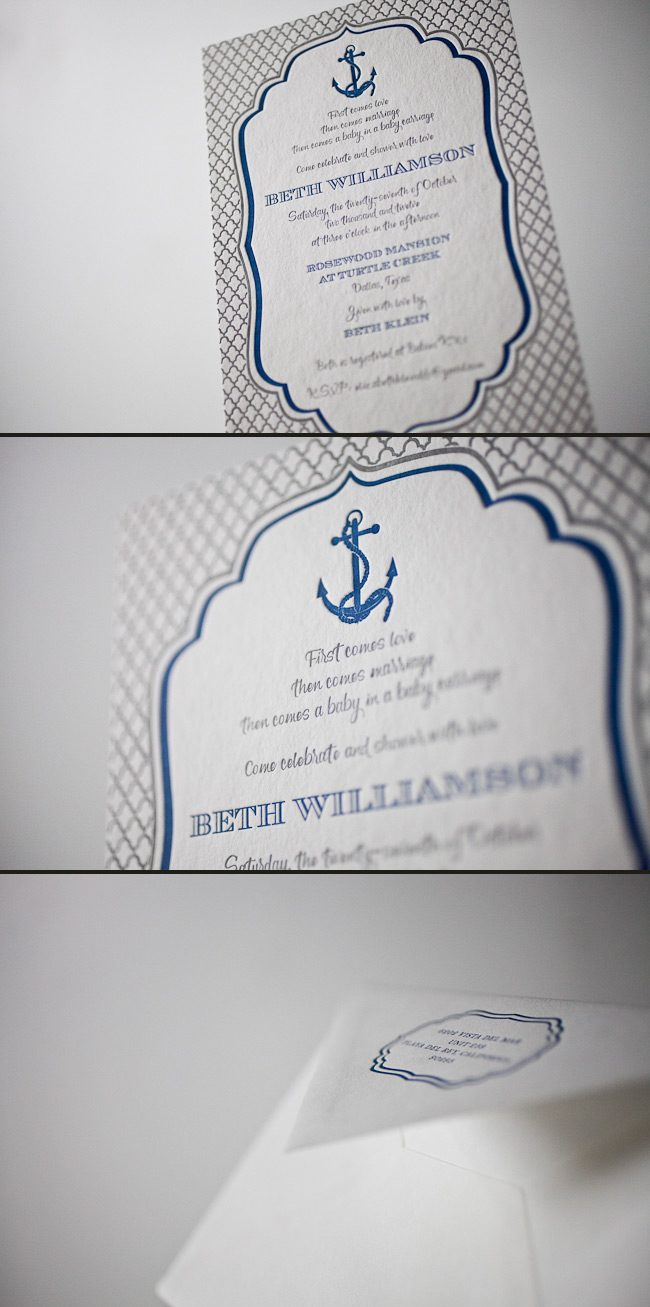 The Dawson letterpress wedding invitation doubles as a baby shower invitation