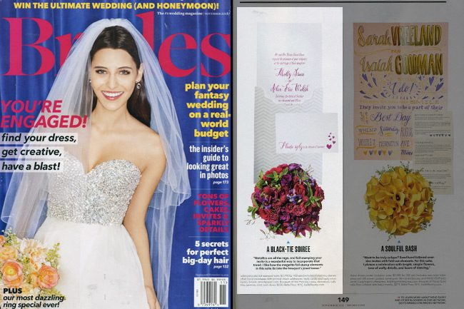 Smock's Tatra customization features fuchsia shine foil stamping and was featured in the November 2012 issue of Brides magazine