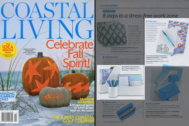 Nautical notebooks and scratchpads from Smock were featured in Coastal Living's 2012 issue