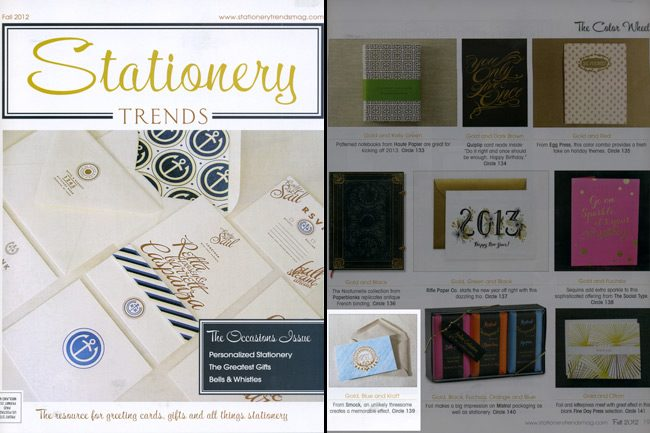 Stationery Trends Fall 2012 issue featured Smock's everyday letterpress and foil stamped holiday cards