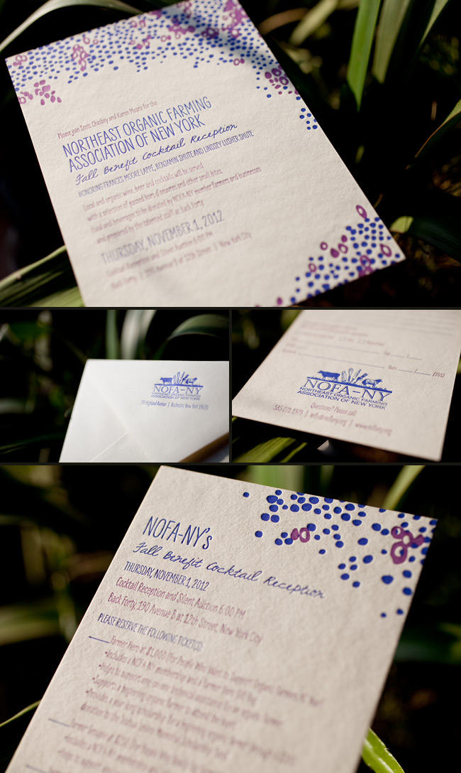 Smock printed the invitations for NOFA New York's 2012 Fall Benefit