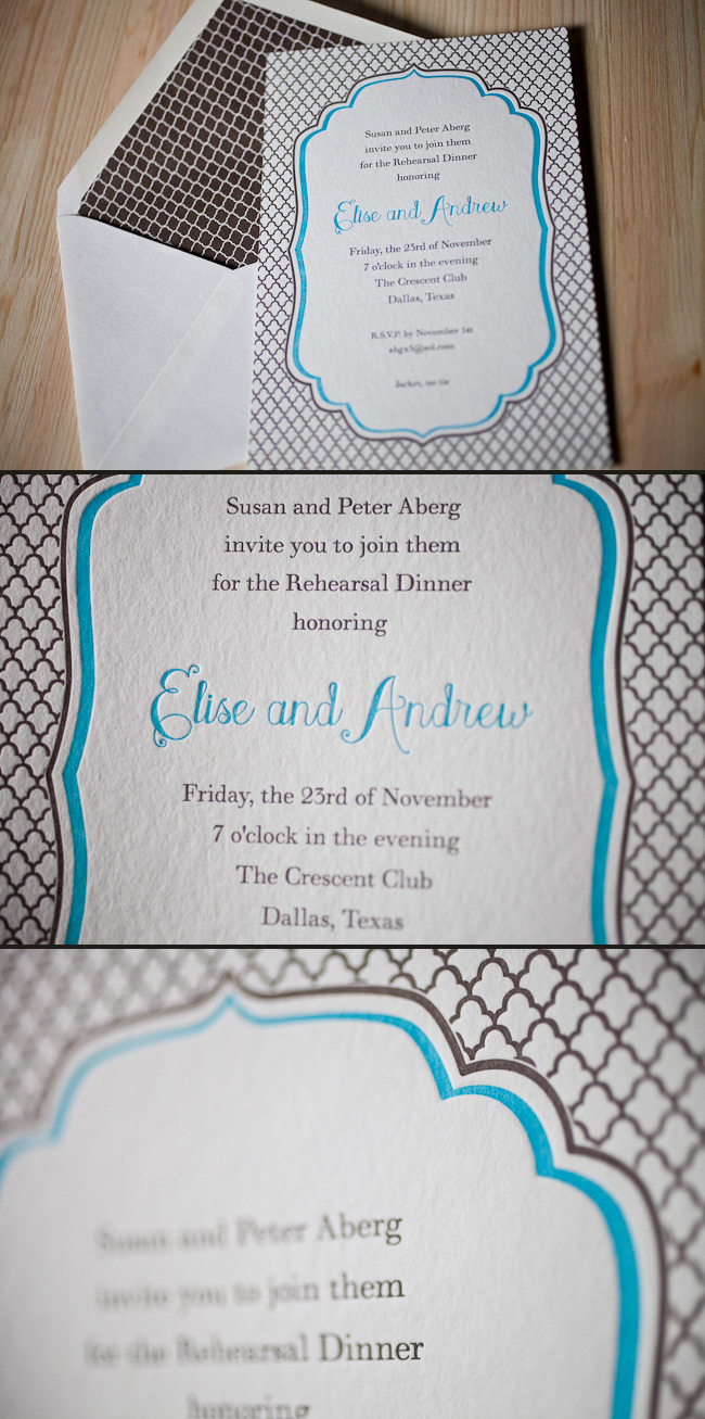 Letterpress and offset printing are a great combination in this Dawson letterpress invitation