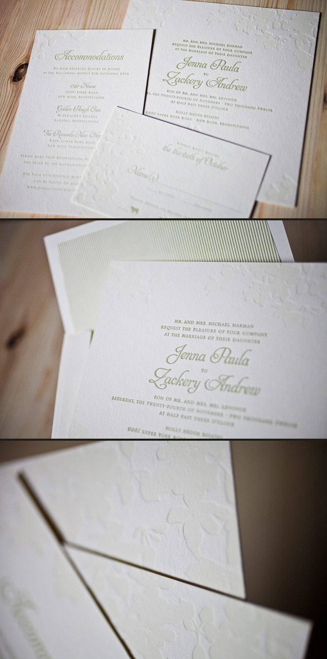 Kurai letterpress wedding invitations are delicate in sage and coconut inks