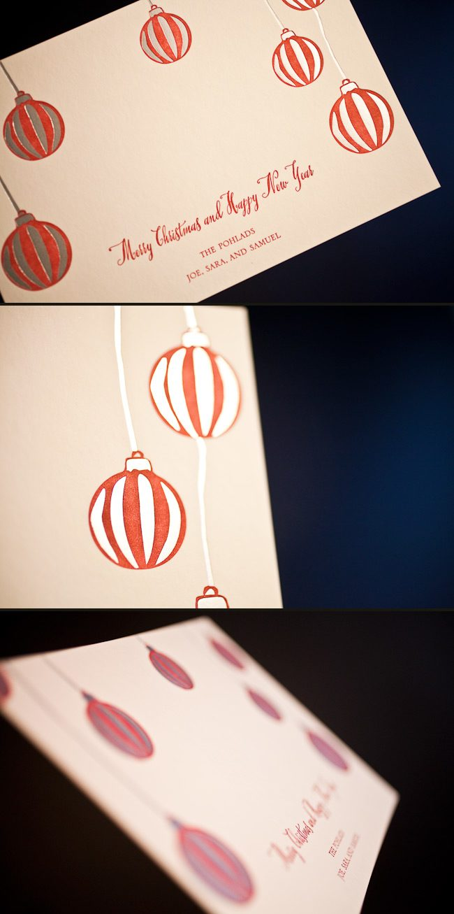 Combining letterpress, foil and offset is a great way to customize your holiday cards