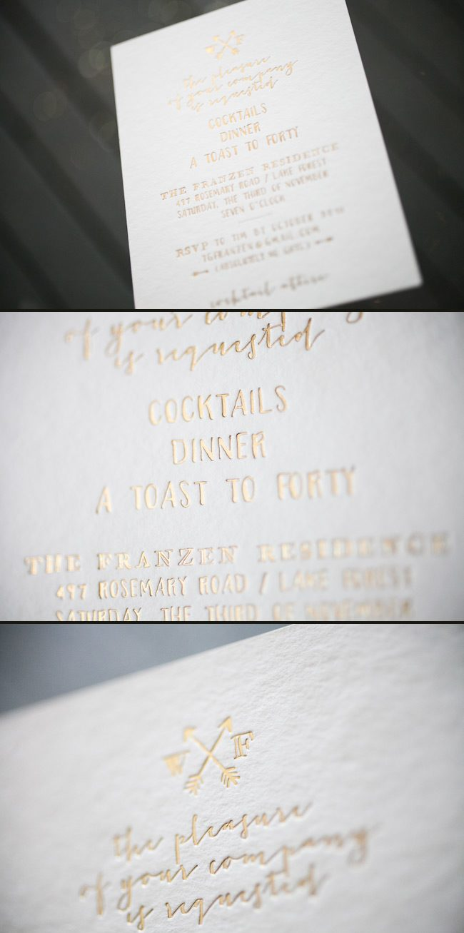 Foil stamped birthday invitations paired with custom artwork