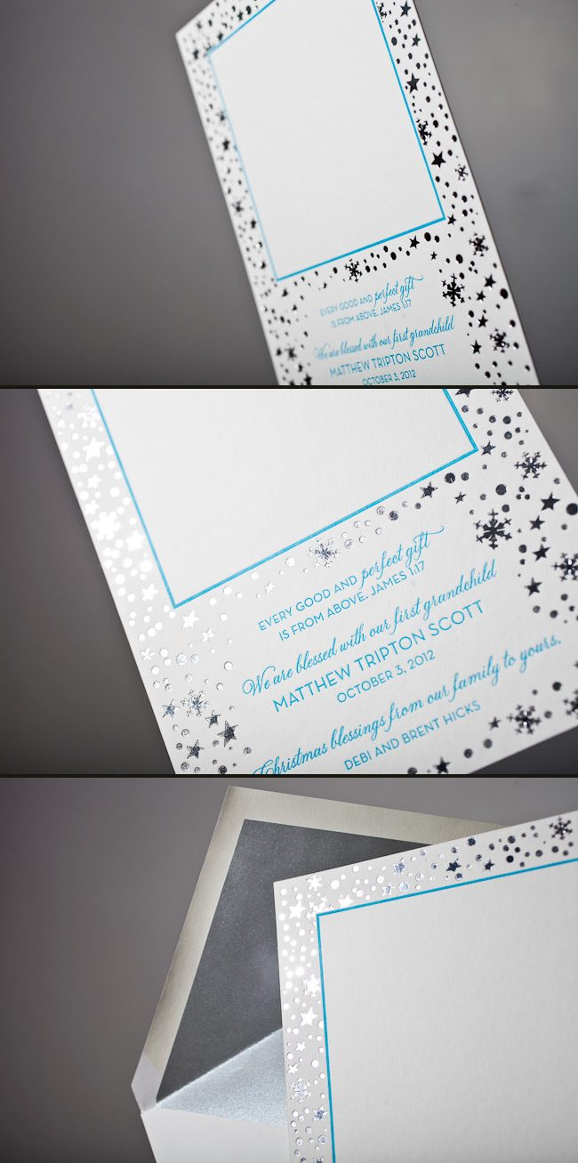Customize your holiday cards with letterpress and foil