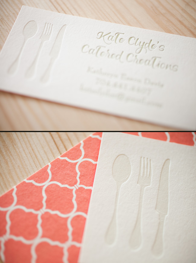 Custom letterpress business cards available through smock