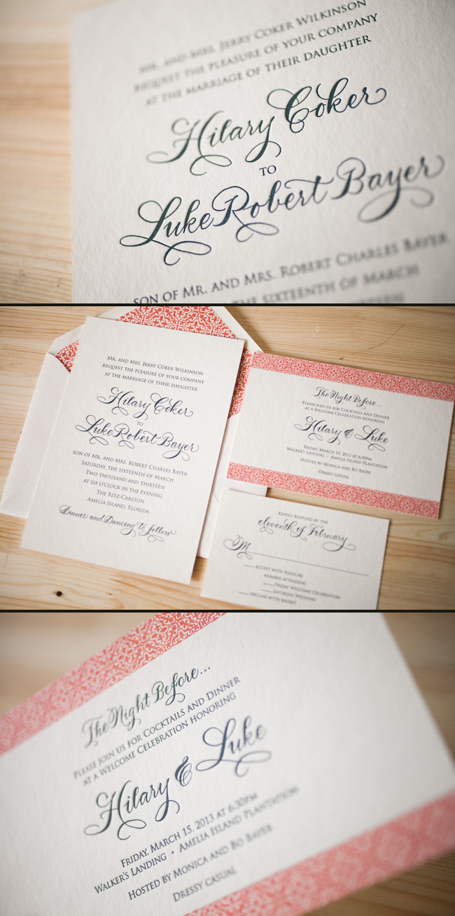 Letterpress wedding invitations that are printed in midnight and coral inks