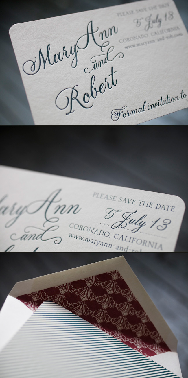 Elegant letterpress save the dates with calligraphy fonts