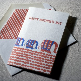 Mother's Day Elephants letterpress card