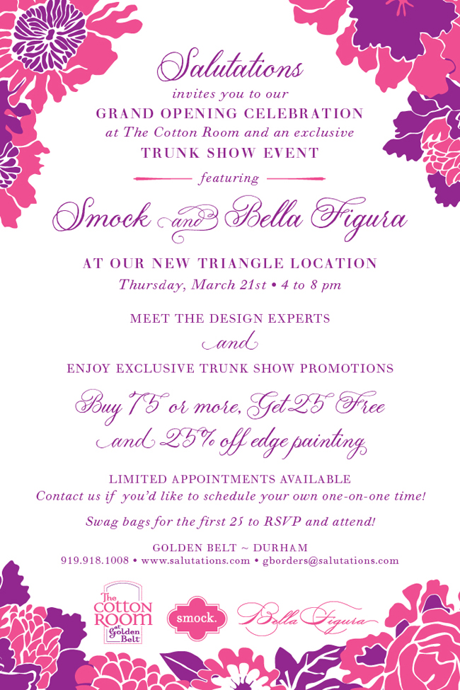 Take advantage of trunk show specials and save on letterpress wedding invitations from Smock