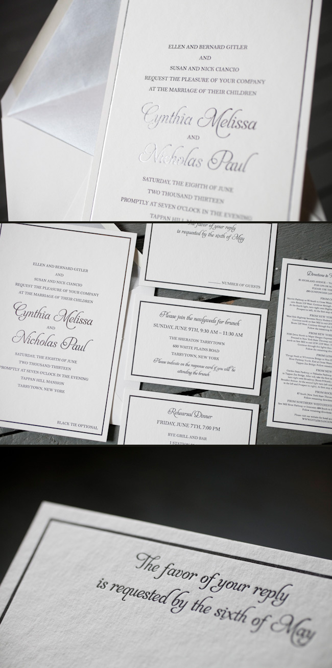 Wedding invitations printed in classic black and silver foil