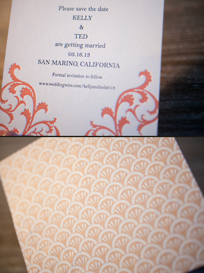 Unique square letterpress save the dates