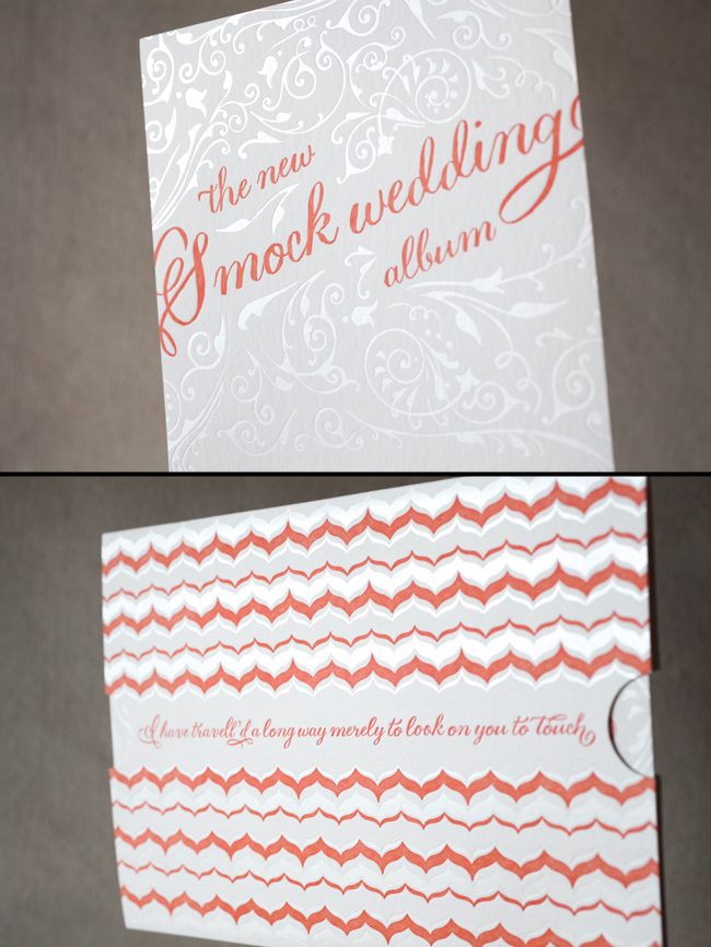 Letterpress wedding invitation and custom ticket-style sleeve
