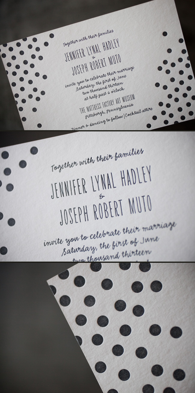 Polka dotted letterpress invitations by Smock.