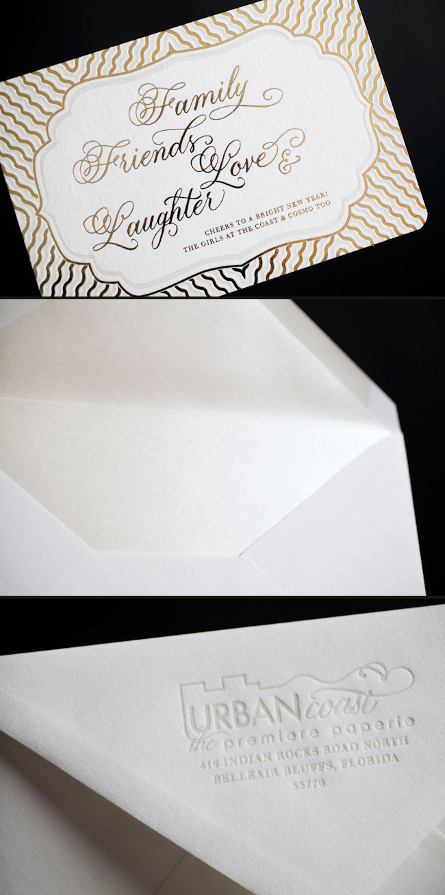 Custom gold foil holiday cards