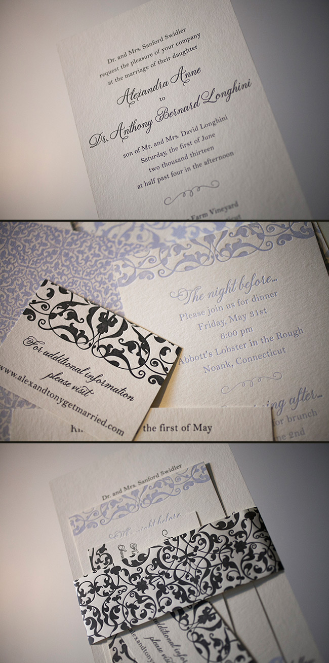 Smock's letterpress wedding invitation design with matching belly band